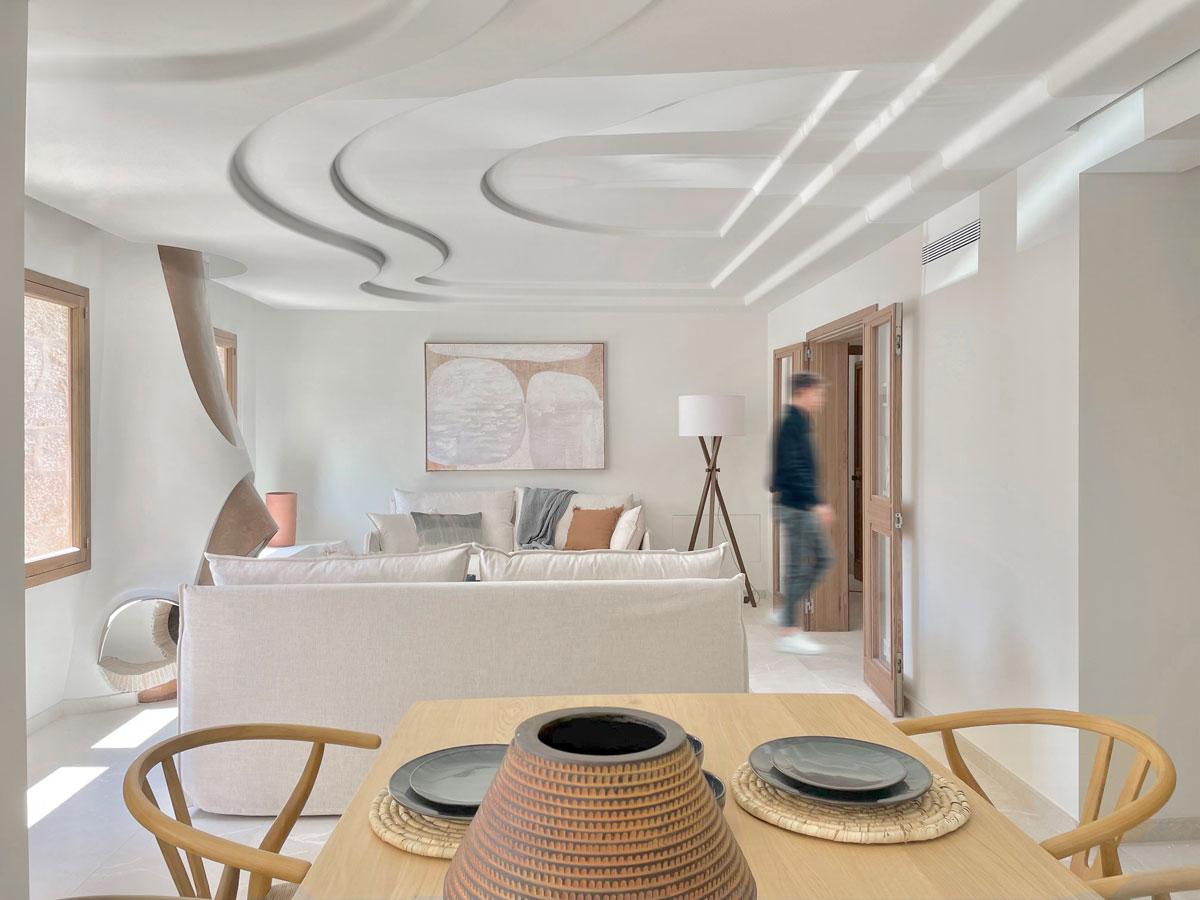 Salón comedor - Interiorismo casa modernista en pollensa